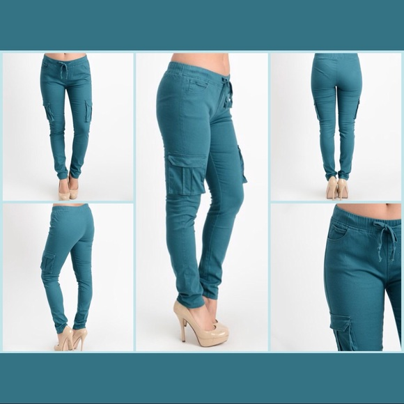 Sales promotion attractive colour price reduced Teal Twill Skinny Cargo Joggers / Pants -Women's NWT